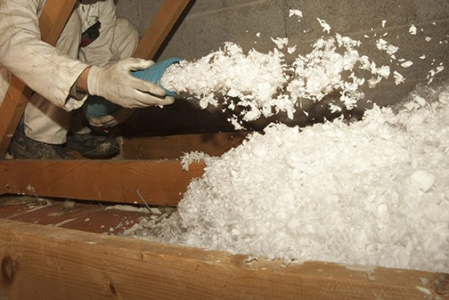 Blown insulation is a great energy saving tip for a net zero house.