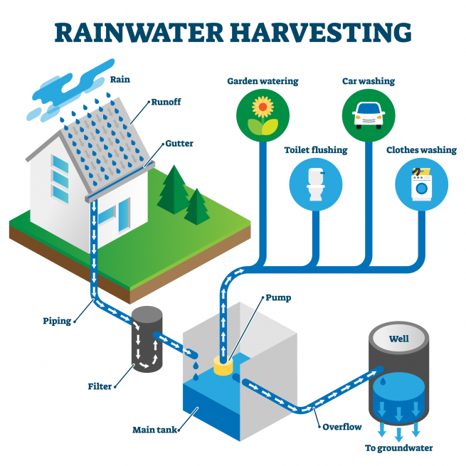 Rainwater harvesting is a great energy saving tip for a net zero house.